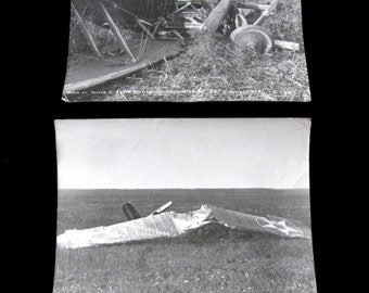 "Two Vintage Military Plane Crash Photos  Approx  6 1/2"" x 9""  1920's Silver Gelatin Bomber  BIPLANE"
