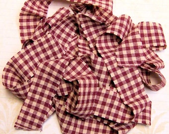 1 yard Homespun Cotton Fabric Ribbon Red Cream Check