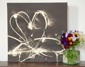 Chocolate heart canvas, 12 x 12 inches, brown cream & gold heart canvas with textured detail, original art, fun lively style