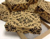 Damask Print Kraft Boxes - 20-count (2 x 1.5 x .75 in.) Cotton Filled Jewelry Boxes