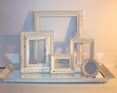 5 Shabby Chic Distressed Antique White Picture Frames & Mirrored Tray