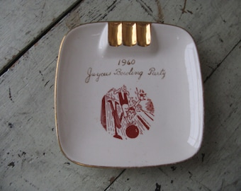jaycees ashtray mid century kitsch incribed 22 karat gold 1960 jaycees bowling party kass china company