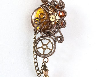 OOAK Yellow steampunk wire wrapped pendant