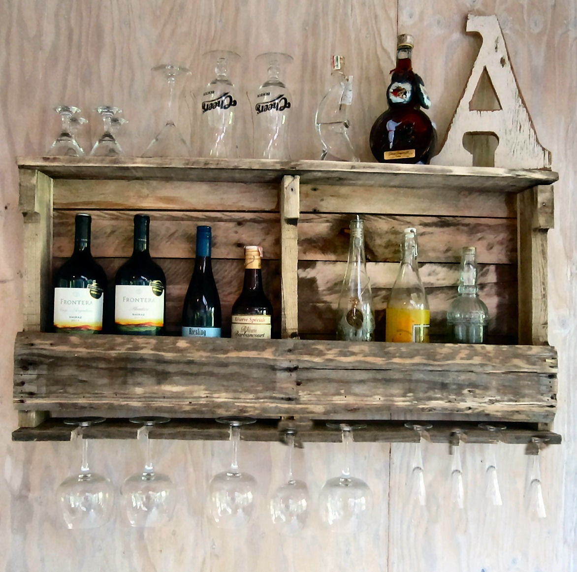 Rustic Wood Bar Shelf