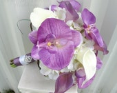 Brides bouquet Real touch Lavender white calla lily orchid Tropical wedding bouquet