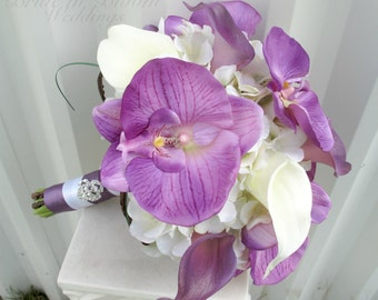 Lavender Bridal bouquet, Real touch Lavender white calla lily orchid Tropical wedding bouquet