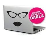 CUSTOM PINK Miss Behavin in Black (Laptop Decal Removable Vinyl Sticker Computer Decal PC Apple Macbook Mac Geekery Specs Glasses Lipstick)