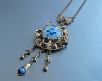Czech Edwardian Revival Necklace Blue Forget Me Nots Floral Porcelain and Gold Filigree Bohemian