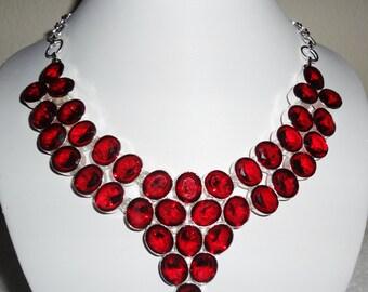 """Red Garnet quartz stones, SOLID Sterling Silver Necklace, 24"""" adjustable"""