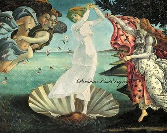 Women's Golf Print Botticelli Birth of Venus Parody Sport