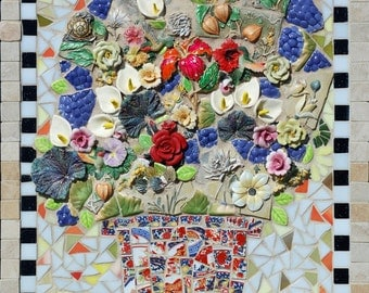 Large Mixed Media Floral Mosaic