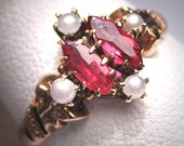 Antique Ruby Pearl Ring Victorian Gold Vintage Wedding