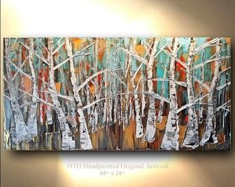 Original Landscape Painting Blue Red Black White Gold metallic Birch Aspen Tree Oil Abstract Texture Artwork Fine art canvas by OTO