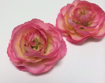 Silk Flowers - Two Ranunculus Flowers in LAVENDER PINK - 3.5 Inches - Artificial Flowers
