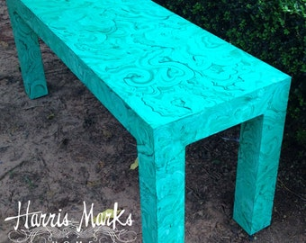 Malachite Table Console Parsons Table Vintage Green Faux Console Sofa Table Hollywood Regency Palm Beach Modern