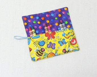 Crayon Roll Up , Party Favors for Girls and Boys Bug Fabric Crayon Wallets 6 Crayons in Each Rollup