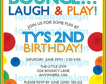 DIY Printable Bouncy Ball Birthday Party Invitation