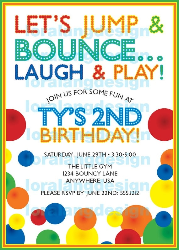Diy Printable Bouncy Ball Birthday Party Invitation By