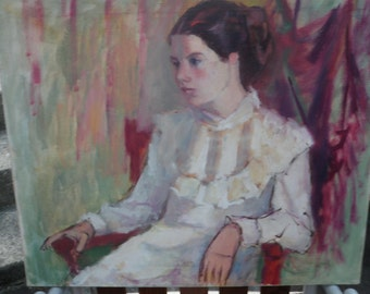 Wanda Stella Varriale Girl in a White Blouse authenticated 24x20 impressionist painting