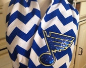 STL Blues Inspired Sparkly Infinity Scarf, STL Blues, St Louis Blues, Blues Hockey, Blues Birthday Present, Blues Lover