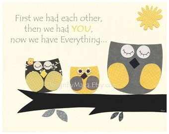 Kids Yellow and Gray Nursery Art Decor. Nursery Decor. Baby Boy Nursery Room Art. Baby Boy Owl. First We Had. Yellow and Gray