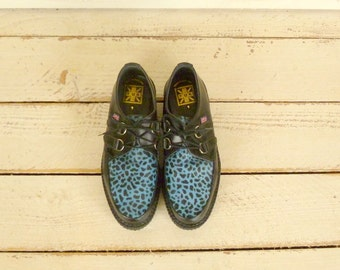 90s vintage blue cheetah print pony hair tuk platform leather creepers/English creepers/9