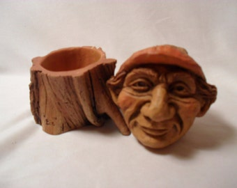 Out of Production Mill Creek Studio Knot Knoggin Resin Composite #1062 Bin Trinket Box