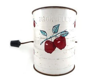 White Bromwell's sifter with apples, rustic kitchen farmhouse decor