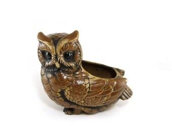 Vintage Lefton ceramic owl planter