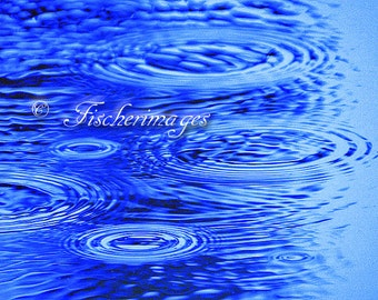 Rain Drops on Blue Water Wall Art Home Decor Photo Print Fine Art Photography