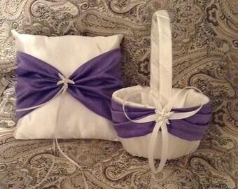 White or ivory custom made flower girl basket and pillow