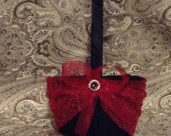wedding flower girl basket black and sparkly red color custom made