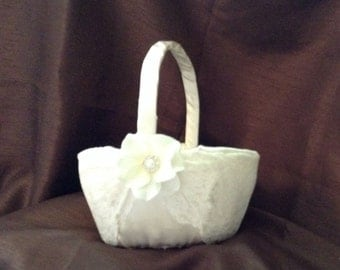 Large wedding flower girl basket ivory or white color custom made lace