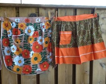 Fresh vintage tangerine orange and green paisley half apron orange flower power
