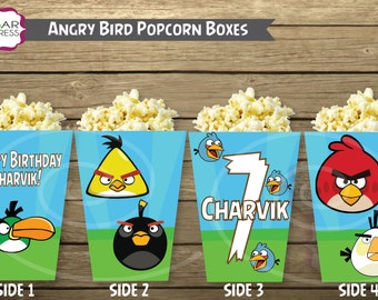 12 ASSEMBLED Angry Birds Theme Popcorn or Snack Box