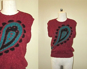 Vintage 80's sweater top BURNT ORANGE paisley design sleeveless slouch - S/M