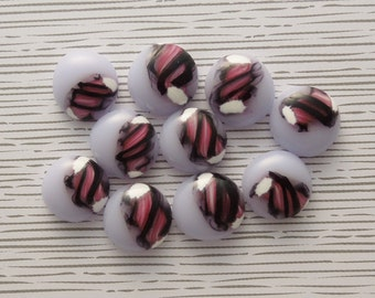 Fused Glass Mini Cabochons - Lampwork Beads - Fused Glass - Findings - Glass Beads - Stained Glass - Pink Beads 6288