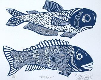 linocut, Big Guys, Fish, blue, ocean, fishing, gift for him, blue and white, navy blue, beach house, home interior, seaside, sand, beach