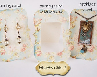 ZOE SHABBY #2 Earring Cards, Jewelry cards,Necklace Card, Earring Display, Earring Holder, Necklace Holder