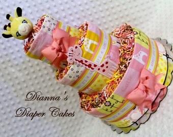 Giraffe Baby Diaper Cake Pink Girls Shower Gift or Centerpiece
