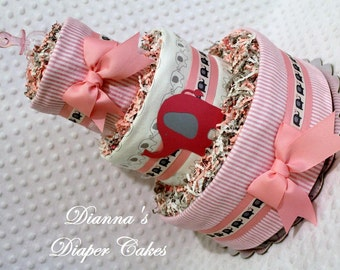 Pink Elephants Baby Diaper Cake Shower Gift or Centerpiece