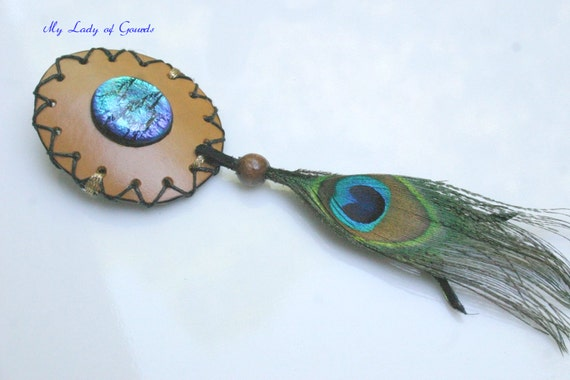Hair Barrette with Natural Gourd Shell, Peacock Feather and Blue Dichroic Fused Glass Cabochon, Women's Hair Barrette