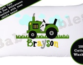 Personalized Pillow case, John Deer Tractor, Green Tractor, Little Boy's Room, Room Decor, Farmer Pillowcase, Child's Pillowcase, Boy's Room