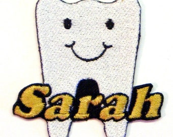Iron on Patch Tooth Dentist Name Personalized Free