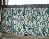 "Teal Curtain Valance Cafe Curtain Rod Pocket Ruched 54"" x 18"" 100% Cotton"