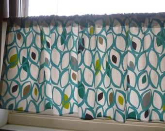 """Teal Curtain Valance Cafe Curtain Rod Pocket Ruched 54"""" x 18"""" 100% Cotton"""