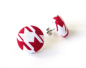 Tiny red white earrings - red stud earrings - red fabric earrings - red button earrings - small post earrings