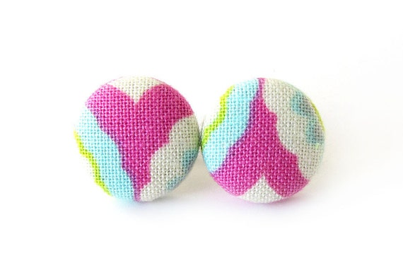 Tiny fabric earrings - bright button earrings - pink stud earrings white yellow blue green bright happy