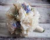 Peony and Lilac Wedding Bouquet - Rustic Wedding Bouquet