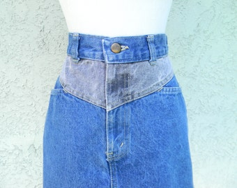 Vintage 80's Denim Mini Skirt, High Waisted Stone Washed Blue and Gray Jean Mini Skirt, Sunset Blues by CHIC Brand Size 5 6 7 8 - HIGH WAIST